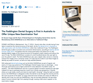 KaVo DIAGNOcam, first in Australia, Sydney dentist, Dr Duncan Copp, dental technology, oral exam, dental cleaning in Sydney