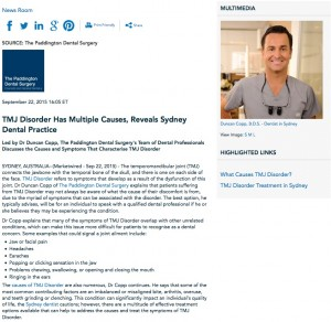 tmj disorder,tmd,jaw pain,bite misalignment,dr duncan copp,sydney dentist,grinding teeth,clenching